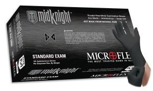 Microflex MidKnight MK-296 powder free nitrile exam glove - mk-296-xs-midknight-pf-nitrile-exam-glove-blk-100bx-10bxcs
