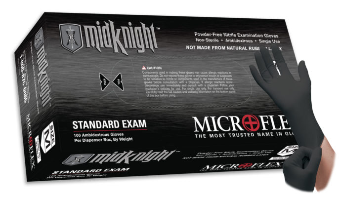 Microflex MidKnight MK-296 powder free nitrile exam glove