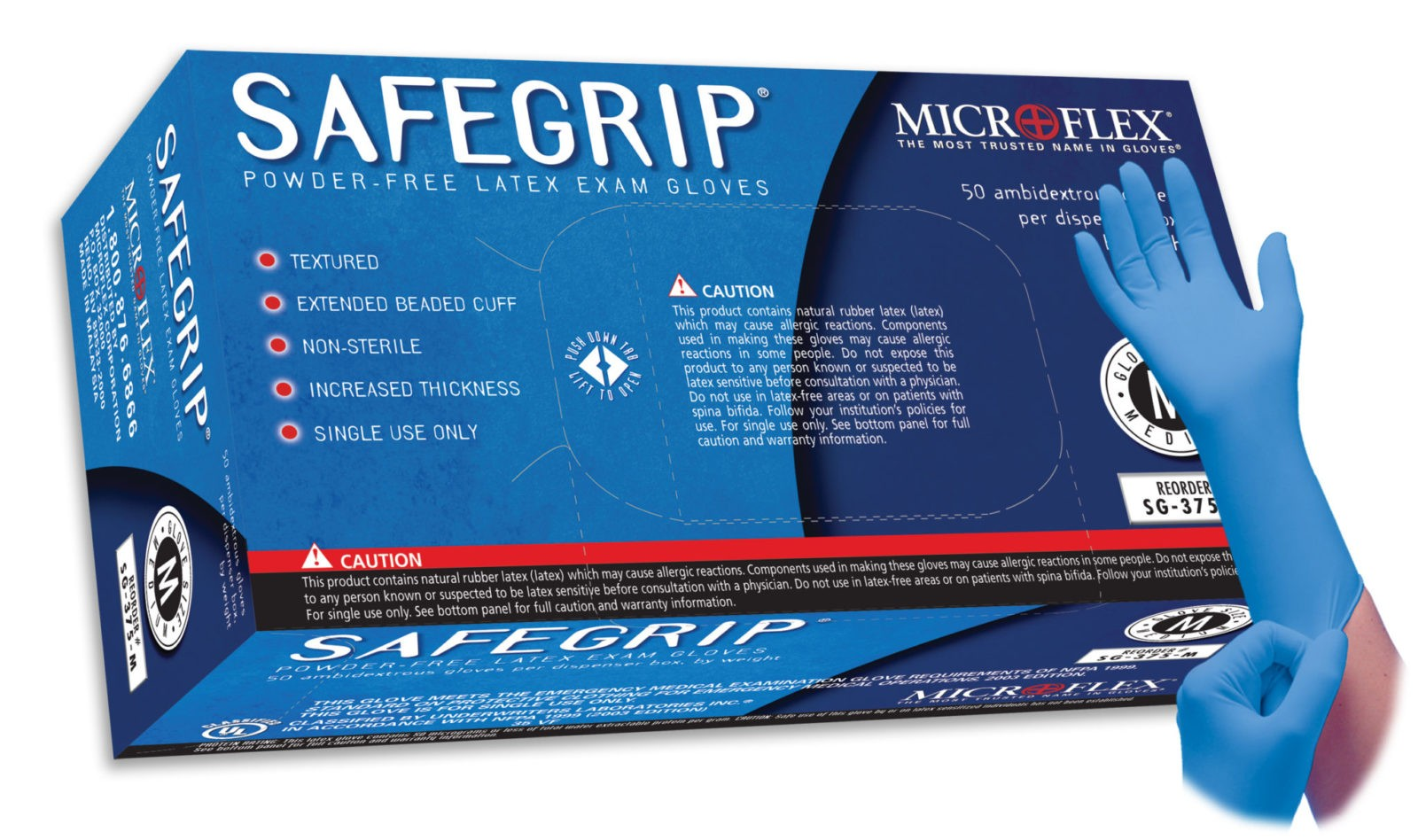 Microflex SafeGrip SG-375 powder free latex exam glove