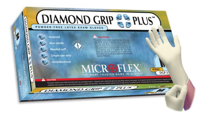 Microflex Diamond Grip Plus DGP-350 powder free latex exam glove