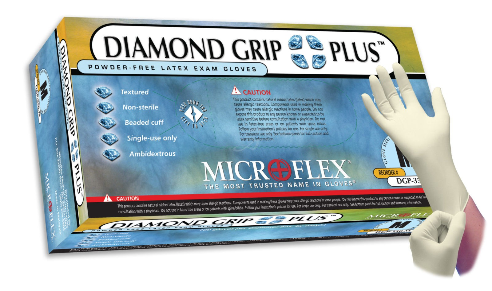 Microflex Diamond Grip Plus DGP-350 powder free latex exam glove