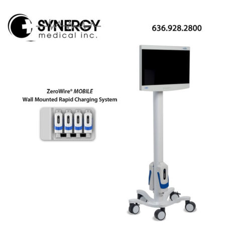 NDSSI ZeroWire Mobile Medical imaging monitor and wall mounted charging system