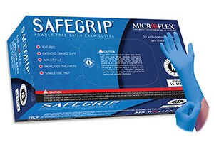 SafeGrip Powderless Latex Exam Gloves