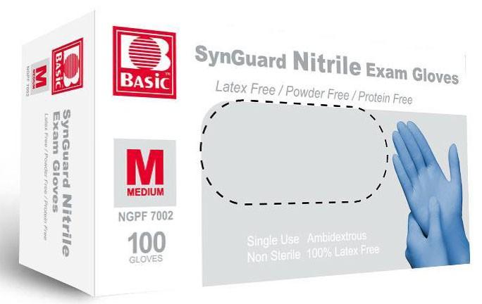 Basic NGPF7002-V1 SynGuard Nitrile Examination Gloves Medium